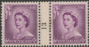 NZ Counter Coil Pair SG 729 1953 6d Queen Elizabeth II Join No. 13 (NCC/201)